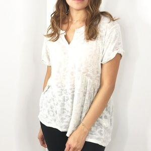 REBECCA TAYLOR White Leopard Short Sleeve T-Shirt